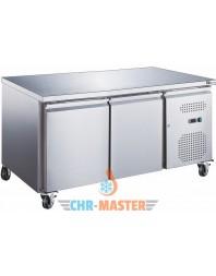 Table réfrigérée positive 2 portes sur roulettes - 600 x 400 - Plan de travail inox - AFI