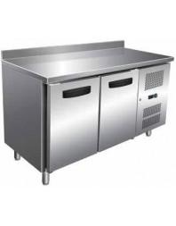 Table réfrigérée Inox/Aluminium avec dosseret - 2 portes - AFI