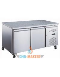 Table réfrigérée positive 2 portes sur roulettes - 600 x 400 - Plan de travail granit - AFI