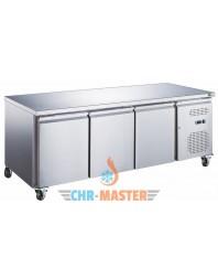 Table réfrigérée positive 3 portes sur roulettes - 600 x 400 - Plan de travail inox - AFI