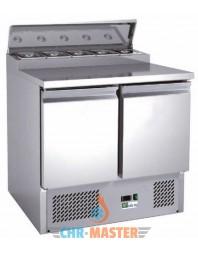 Table réfrigérée positive avec saladette intégrée - 2 portes -bacs GN 1/6 - AFI