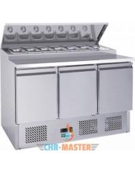 Table réfrigérée positive avec saladette intégrée - 3 portes - bacs GN 1/6 - AFI