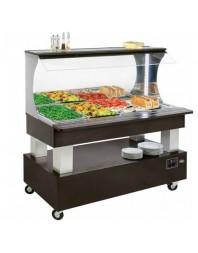 Salad'Bar mural mixte (réfrigéré/chauffant) 4 bacs GN 1/1 - central/mobile