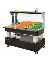 Salad'Bar mural avec miroir chauffant bain-marie - 4 bacs GN 1/1 - central/mobile