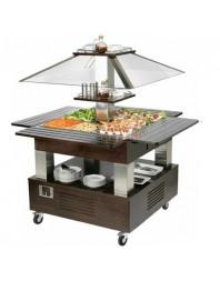 Salad'Bar central réfrigéré - Froid statique - 4 bacs GN 1/1 -