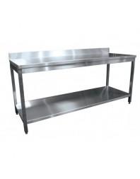 Table de travail inox adossée avec étagère - profondeur 600 - Top budget - L2G