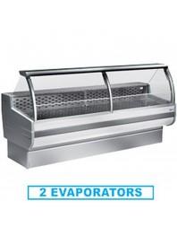 Comptoir vitrine réfrigérée à vitre bombée avec réserve- froid statique +4°/+6°C - CORDOBA PLUS - DIAMOND