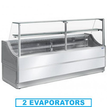 Comptoir vitrine réfrigérée à vitre droite 90° avec réserve- froid ventilé +4°/+6°C - ORLEANS PLUS - DIAMOND