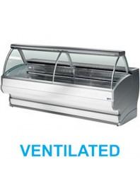 Comptoir vitrine réfrigérée à vitre bombée avec réserve- froid ventilé +0°/+2°C - TONGA PLUS - DIAMOND
