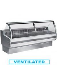 Comptoir vitrine réfrigérée à vitre bombée avec réserve- froid ventilé +0°/+2°C - CORDOBA PLUS - DIAMOND