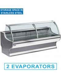Comptoir vitrine réfrigérée à vitre bombée avec réserve- froid statique +4°/+6°C - NEPAL PLUS - DIAMOND