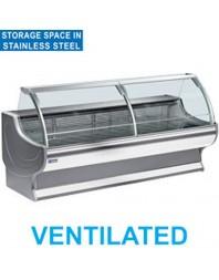 Comptoir vitrine réfrigérée à vitre bombée avec réserve- froid ventilé +0°/+2°C - NEPAL PLUS - DIAMOND