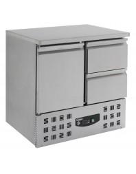 Table réfrigérée (+2+8°C) - Dessus Inox- 1 porte + 2 tiroirs