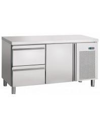 Table réfrigérée + 2+8°C - dessus Inox - 2 portes (option bloc tiroirs)