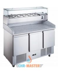 Table réfrigérée à pizzas - 3 portes - avec saladette capacité 6 GN 1/4 - ATOSA