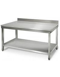 Table adossée avec étagère basse - inox - 1200 mm