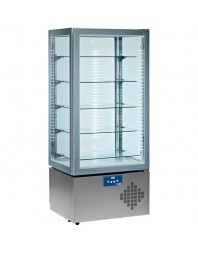 Vitrine réfrigérée 4 faces vitrées +2°C +10°C - 5 niveaux avec éclairage par LED lumineux.