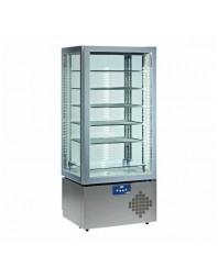 Vitrine réfrigérée 4 faces vitrées +5°C -22°C - 5 niveaux avec éclairage par LED lumineux.