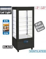 Vitrine réfrigérée noire aux 4 faces vitrées +2°C +10°C - 5 niveaux - LED - Ventilée