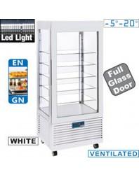 Vitrine réfrigérée blanche aux 4 faces vitrées +2°C +10°C - 5 niveaux - LED - Ventilée
