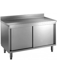 Meuble bas neutre adossé - Inox Ferretique - PROF 600 mm - LARG de 1000 à 2000 mm
