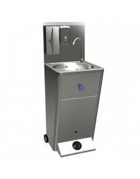 Lave-mains avec commande à pédale,poubelle et distributeurs de savon et papier