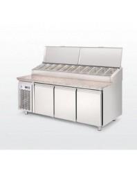 Meuble à pizzas en marbre avec toit inox 11 x GN 1/3- 544 litres - 3 portes - LUFRI